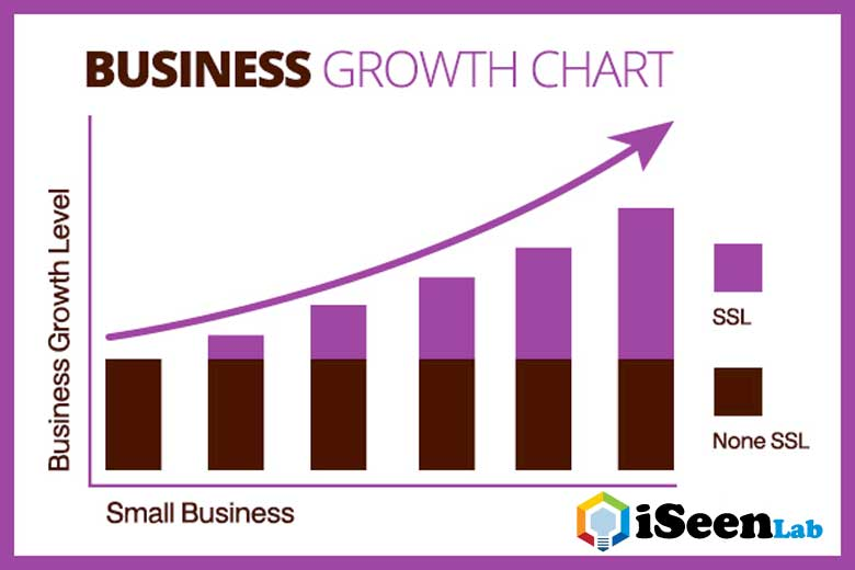 business growth chart with ssl certificate